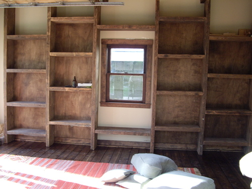 Hand Built Bookshelves From Reclaimed Wood